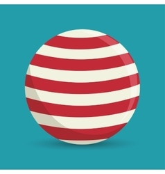sphere ball red and white circus icon vector image