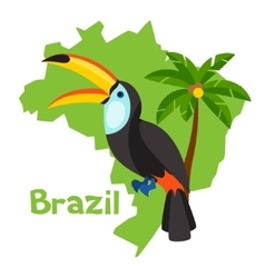Stylized map of brazil with toucan and palm tree vector