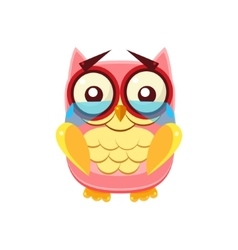 Tearful pink owl vector