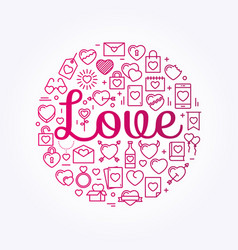 the word love surrounded by icons and hearts vector image