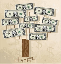 Tree with dollars vintage background vector image