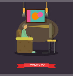Tv zombie concept in flat vector