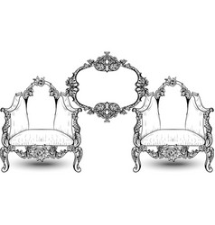vintage baroque rococo furniture rich vector image