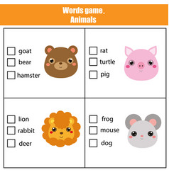 Words test educational game for children animals vector