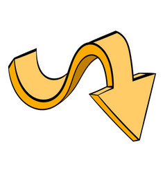 Yellow wavy arrow icon icon cartoon vector