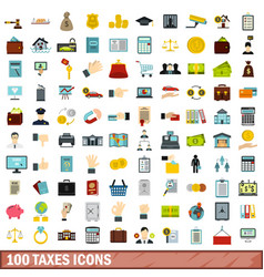 100 taxes icons set flat style vector image