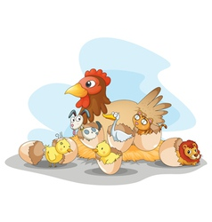 Hen and animals vector
