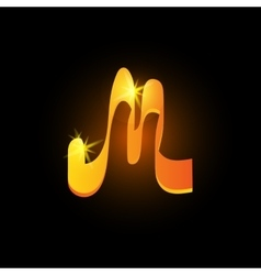 Golden arabic style letter m shiny latin alphabet vector