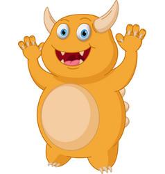 Cute yellow monster cartoon vector