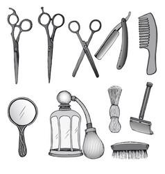 Vintage hairdresser tools set vector