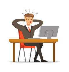 businessman holding his head by two hands while vector image
