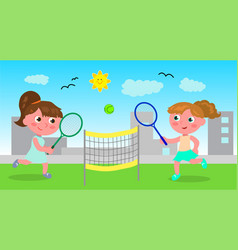 Young woman playing tennis vector