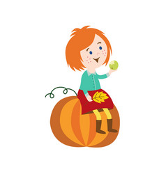 girl sitting at big pumpkin keeping leaves vector image