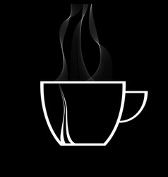 Steamy coffee cup white silhouette on black vector