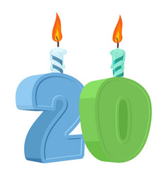 20 years birthday number with festive candle for vector image vector image