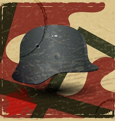 Vintage card with fascist military helmet vector