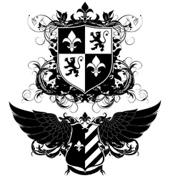 Set of ornamental heraldic shields vector