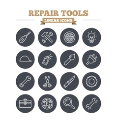 Repair tools linear icons set thin outline signs vector