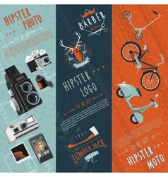 Hipster flat banners set vector