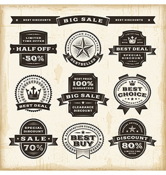Vintage sale labels set vector image