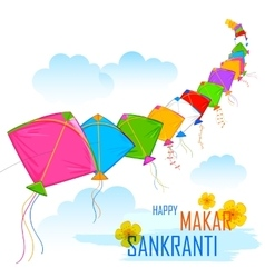Makar sankranti wallpaper with colorful kite vector