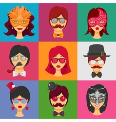 People faces in carnival masks vector