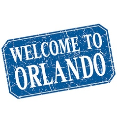 Welcome to orlando blue square grunge stamp vector