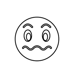 Suspicious emoticon icon outline style vector