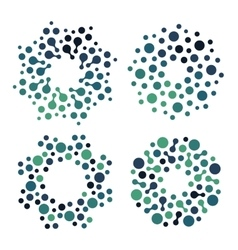 Abstract circle logotype set green and blue vector