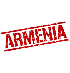 Armenia red square stamp vector