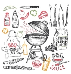 Barbecue hand drawn elements set isolated on white vector image