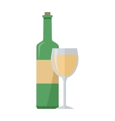 Bottle of White Wine and Glass Isolated vector image