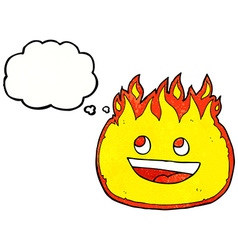 Cartoon fire border with thought bubble vector