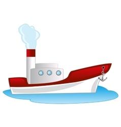 Cartoon of the steamship vector image vector image