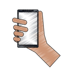 Color pencil cartoon hand holding smartphone vector