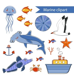 Colorful marine hand drawn clipart vector image
