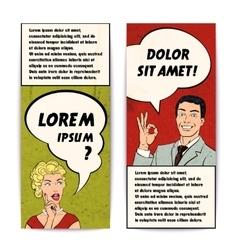 Comics Human Banner Set vector image vector image