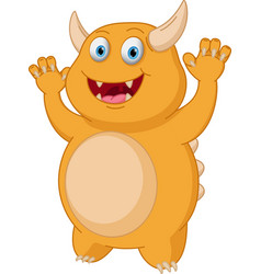 Cute yellow monster cartoon vector
