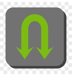 Double back arrow rounded square button vector