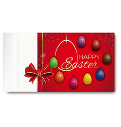 easterg greeting card eight colored eggs on a vector image