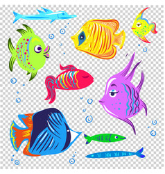 fishes collection decorative style set vector image