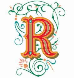 floral letter r vector image vector image