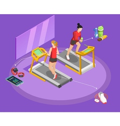 Healthy lifestyle isometric template vector
