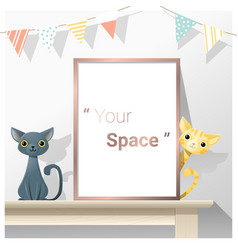 Interior poster mock up with empty frame and cats vector