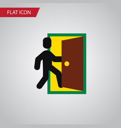 Isolated open door flat icon evacuation vector