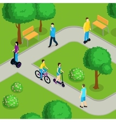 Isometric People Ride Composition vector image vector image