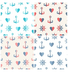 Navy seamless patterns set anchor steering wheels vector image