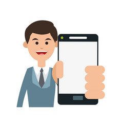 person holding smartphone icon image vector image