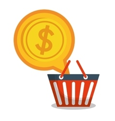 red basket coin money design vector image