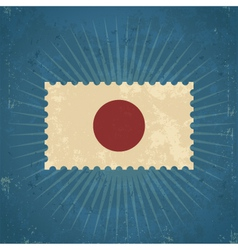 Retro Japan Flag Postage Stamp vector image
